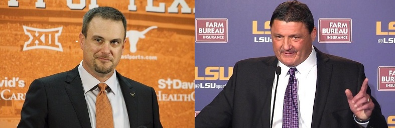 Tom Herman Coach Texas and Ed Orgeron Coach LSU